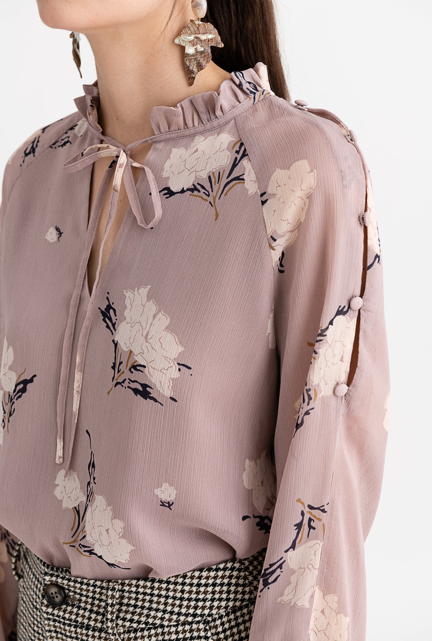 Octavia Top - Blush Floral - Ruffled neck side-slit long sleeve top - Petite Studio NYC