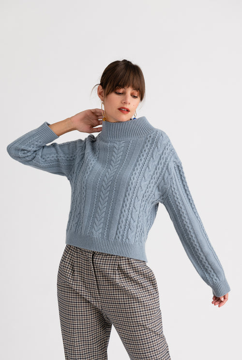 Aubrey Cashmere Sweater - Sky - Mock neck sky blue long and low hem oversized cashmere blend sweater - Petite Studio NYC