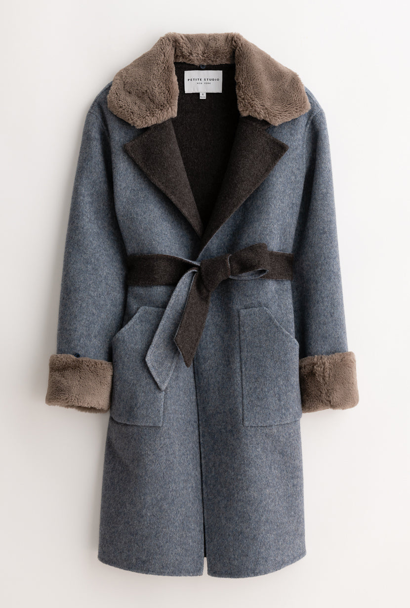 Elsa Wool Coat - Blue & Grey