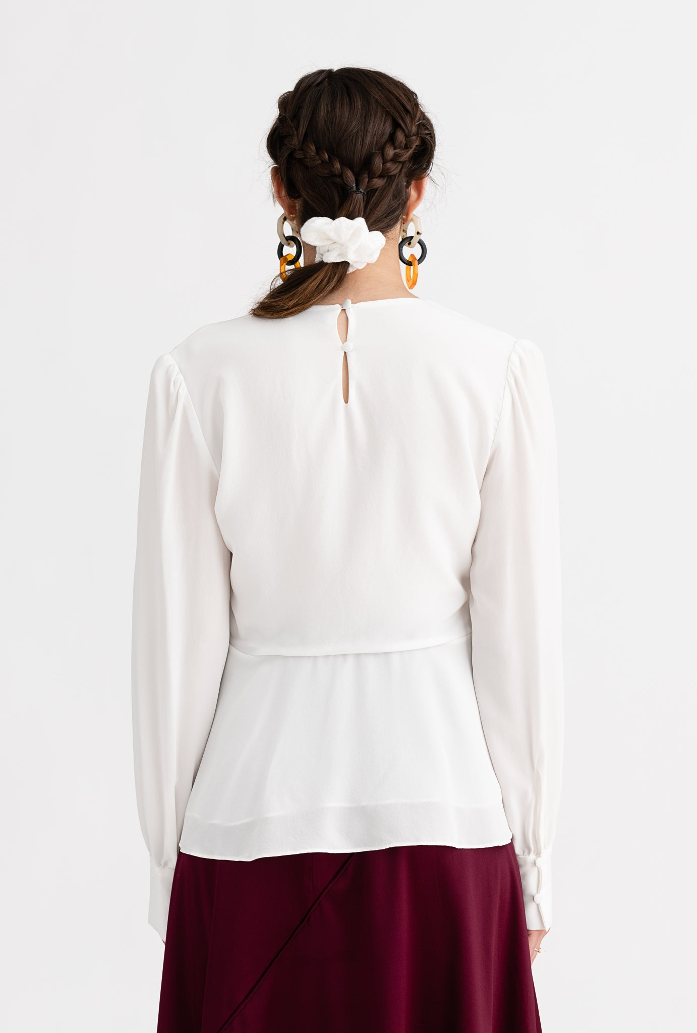 Lizzie Top - Ivory - white knot-detailed silk blouse - Petite Studio NYC