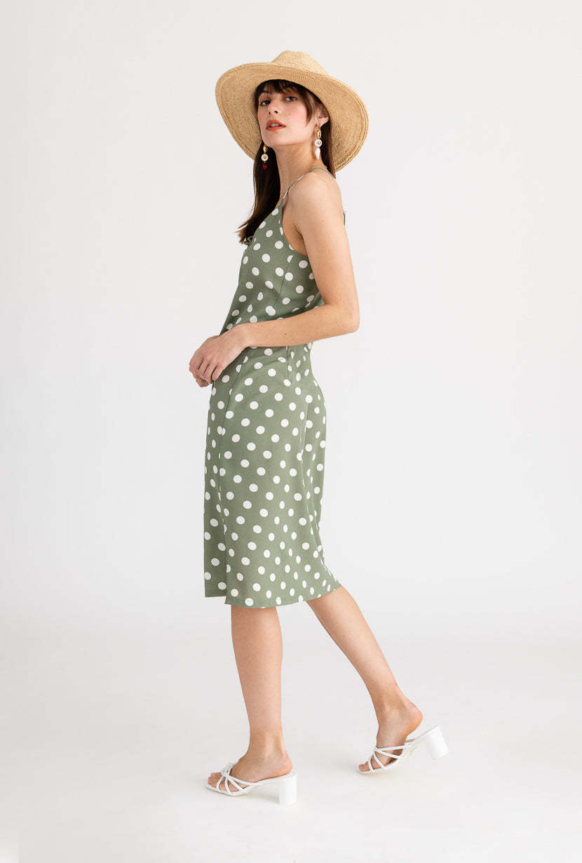 Linden Dress-Polka Dot-green polka dot midi dress-Petite Studio NYC