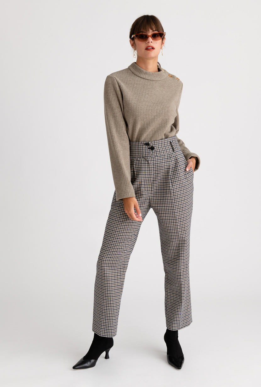 Marta Pants - Plaid - Plaid super high waisted wide waistband pants - Petite Studio NYC