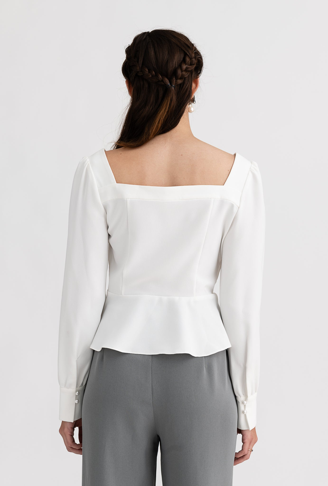 Viola Top - Ivory - White pearl- Button square neck blouse - Petite Studio NYC