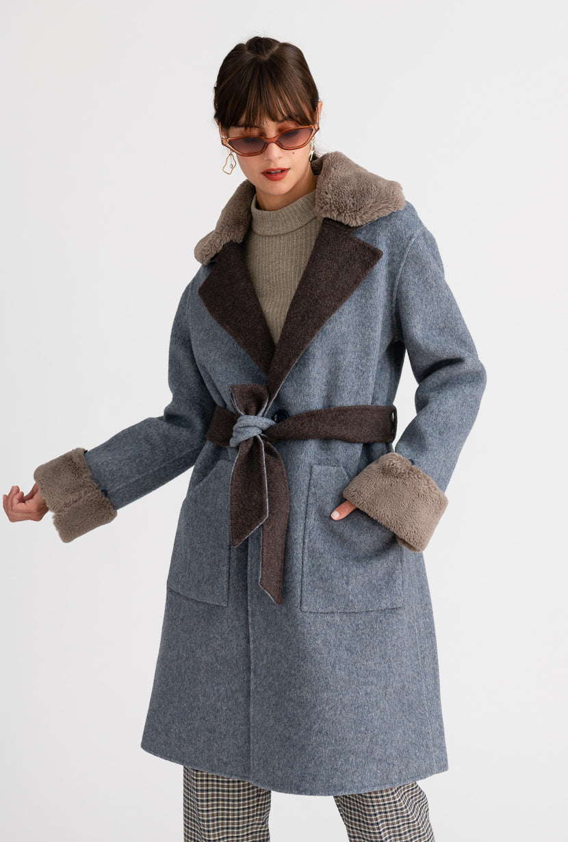 Elsa Australian wool Coat - Blue & Grey - Blue and grey double-sided reversible wool coat with detachable faux rabbit fur collar and detachable belt - Petite Studio NYC