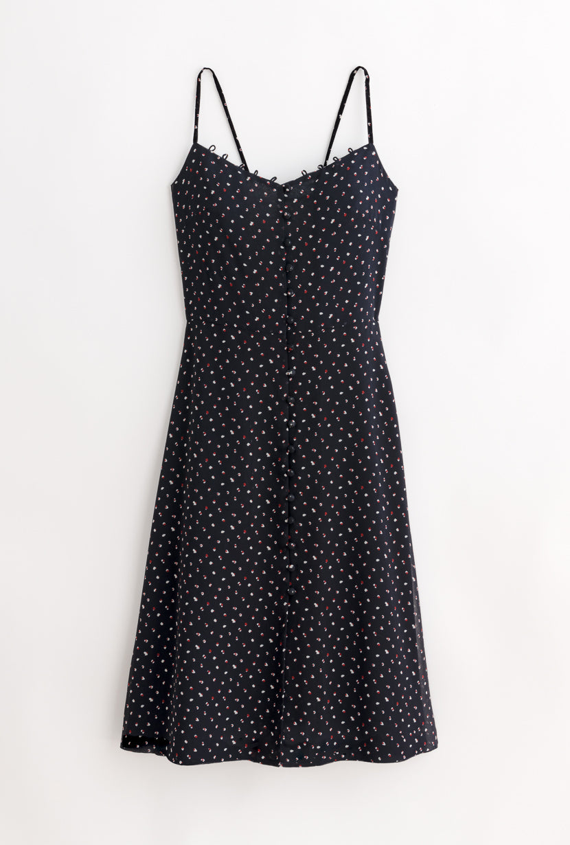 Kate Dress-Night Sky-black print sleeveless midi dress-Petite Studio NYC