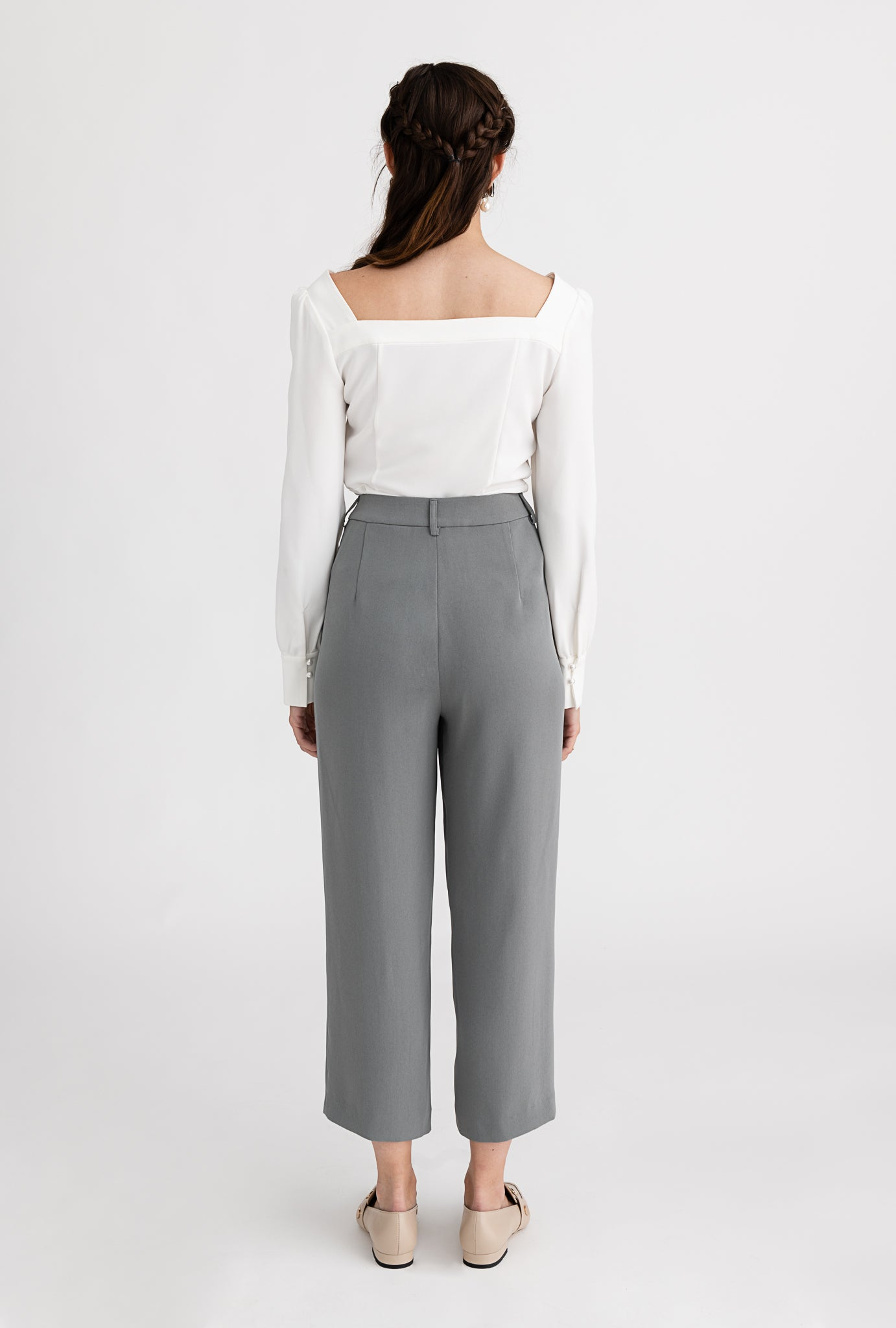 Belda Pants - Steel- Pearl detailed high-waist straight fit suit pants - Petite Studio NYC