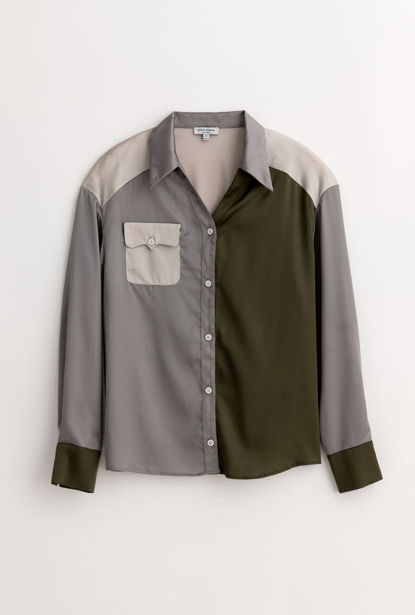Rena Blouse - Olive Tree - Olive green patchwork satin blouse - Petite Studio NYC