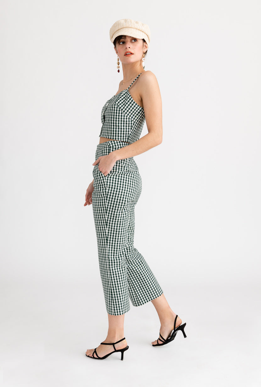 Heather Pants-Green Gingham-green gingham cropped pants-Petite Studio NYC