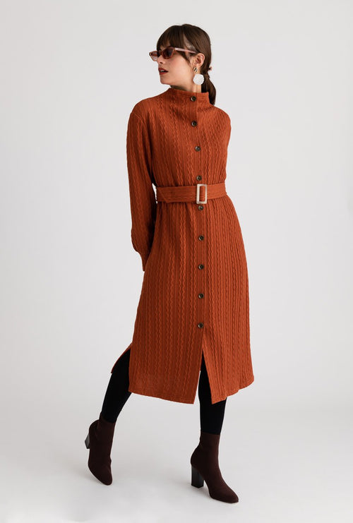 Bergen Dress - Rust - Rust mock neck midi winter dress with detachable belt and buckle - Petite Studio NYC