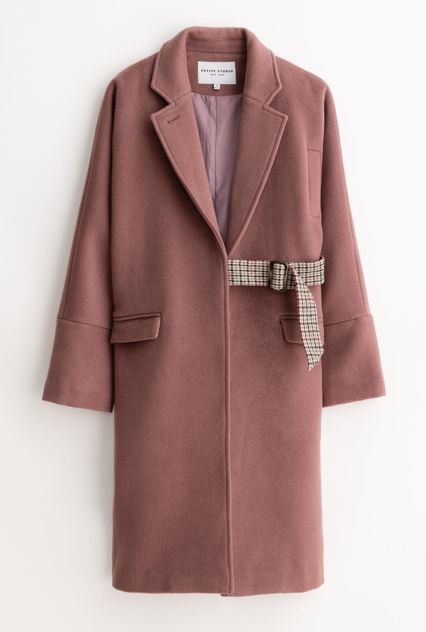 Carmen Wool Coat - Dusty Rose - Dusty rose kimono sleeve oversized wool coat with plaid adjustable belt - Petite Studio NYC