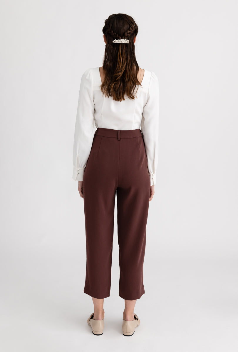 Belda Pants - Mauve - Mauve pearl detailed high - waist straight fit suit pants - Petite Studio NYC