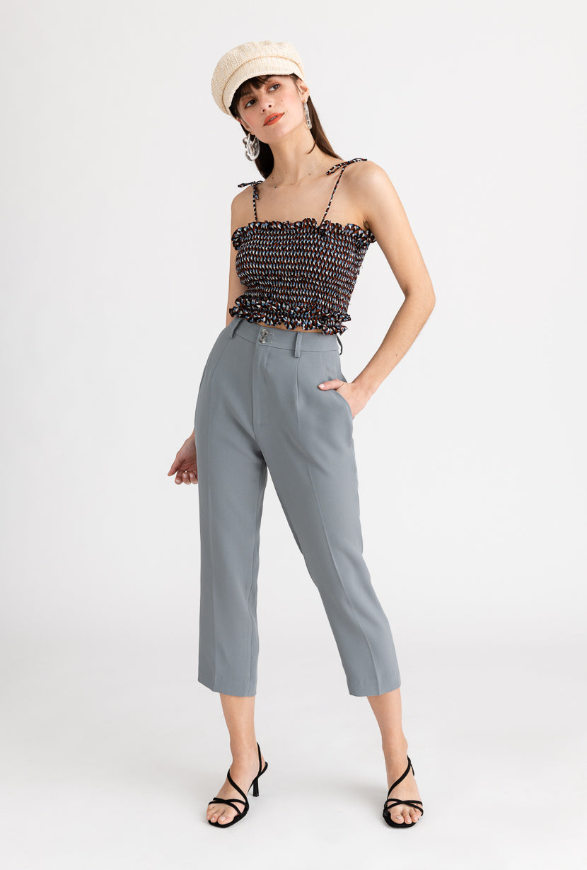Charlie  Pants-Steel-grey high-waisted slim cropped suit pants-Petite Studio NYC