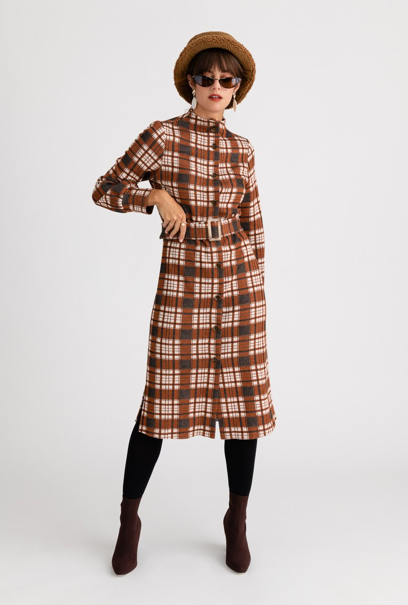 Bergen Dress - Brown Plaid - Brown plaid mock neck midi winter dress with detachable belt and buckle - Petite Studio NYC