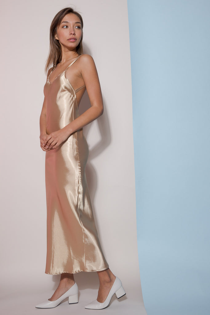 Alysia Gold Dress-dresses-Petite Studio