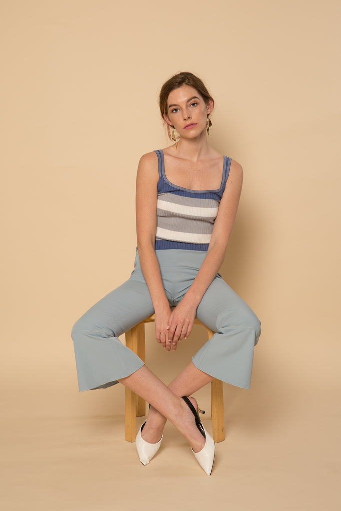 Mallow Knit Tank -Blue-tops-Petite Studio