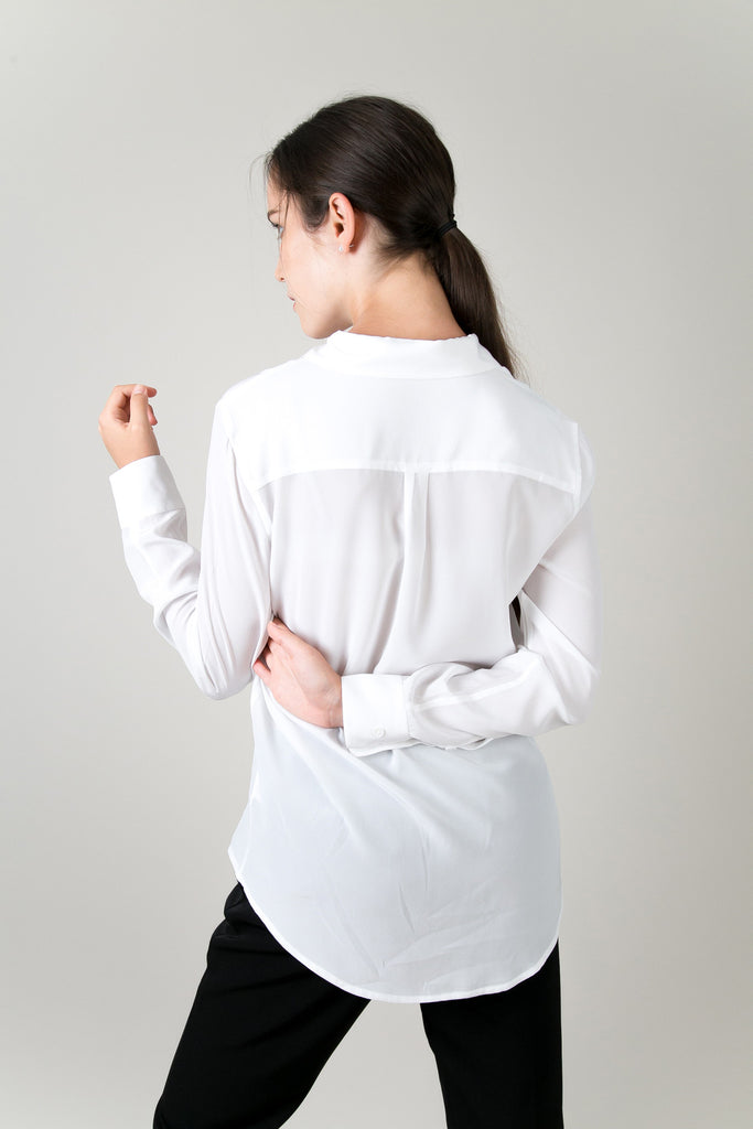 Madison Pocket Blouse - White | Petite Studio-petite clothing & Tops