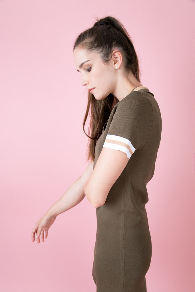 Nolita Polo Knit Dress -Khaki | Petite Studio-petite clothing&Dresses