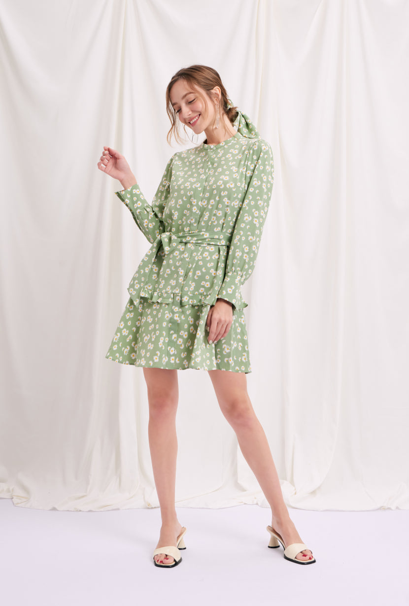 dress-midi dress-petite fashion-petite girls-Spring 2021-Cora Dress - Green Print-Petite Studio NYC