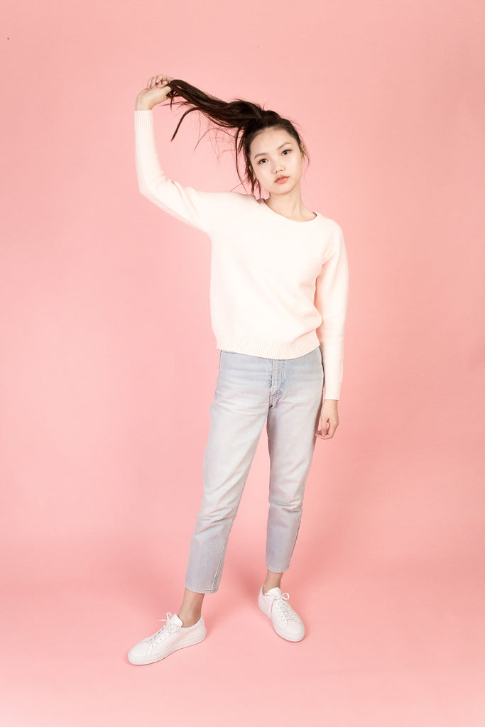 Orchard Pink Crew Neck Sweater-tops-Petite Studio