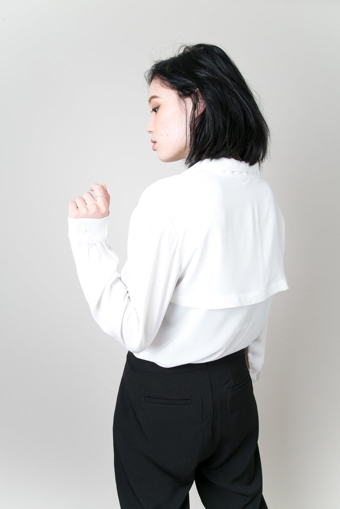The Hudson Low Cut Blouse -White |Petite Studio-petite clothing & Tops