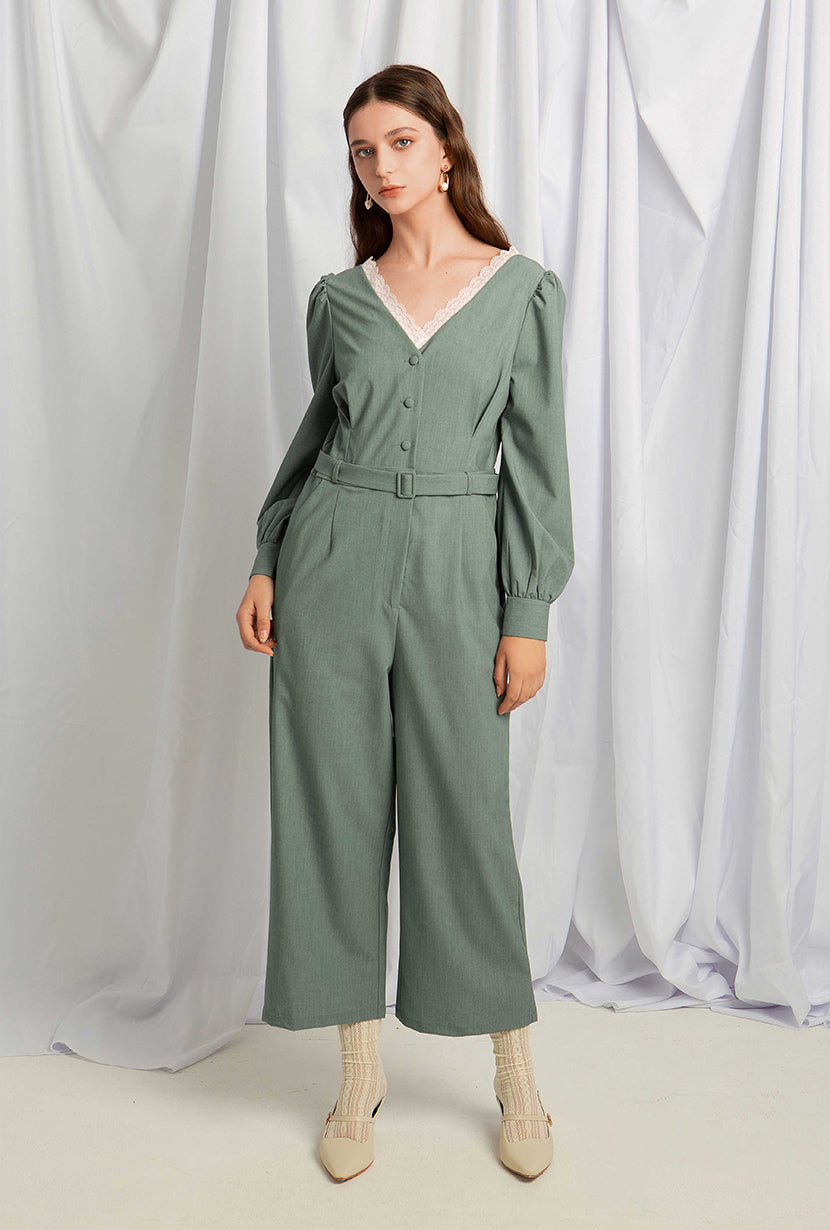 Annie Jumpsuit - Teal - Bell long sleeve jumpsuit - Petite Studio NYC