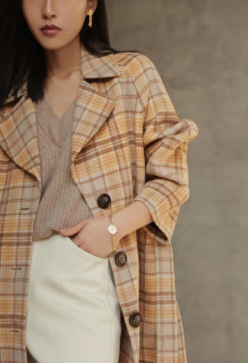 Christie Wool Coat - Caramel Plaid