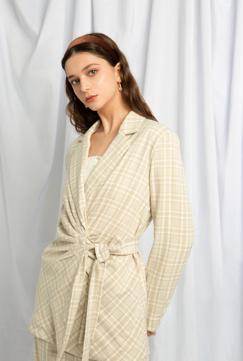Baltimore Jacket - Plaid - Pleated detail at front with a self-tie belt, biased cut at front - Petite Studio NYC