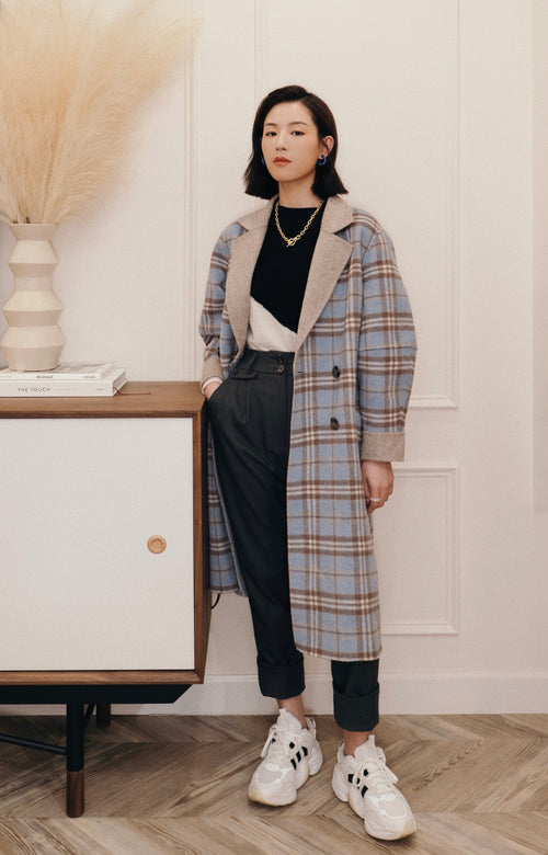 women's winter coats-wool coat-petite fashion-petite girls-Winter 2020-Leslie Wool Coat - Blue Plaid-Petite Studio NYC
