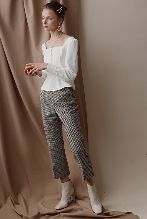 Bennet Pants - Grey Plaid - High waisted slim fit hem slit wool blend pants - Petite Studio NYC