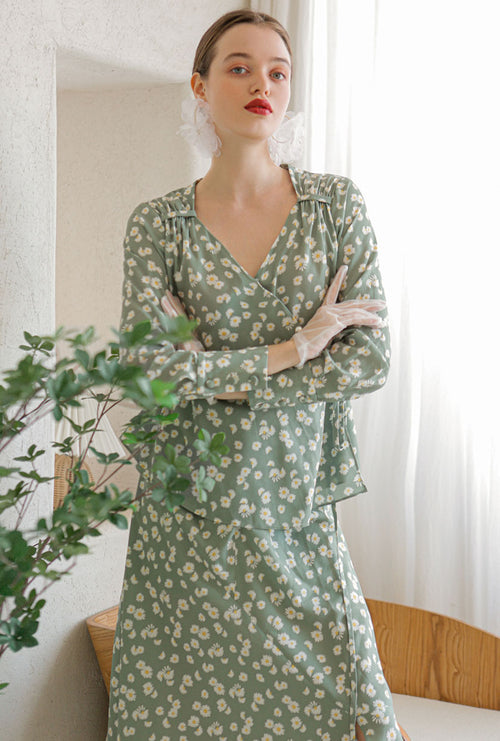 Catherine Top - Green Print