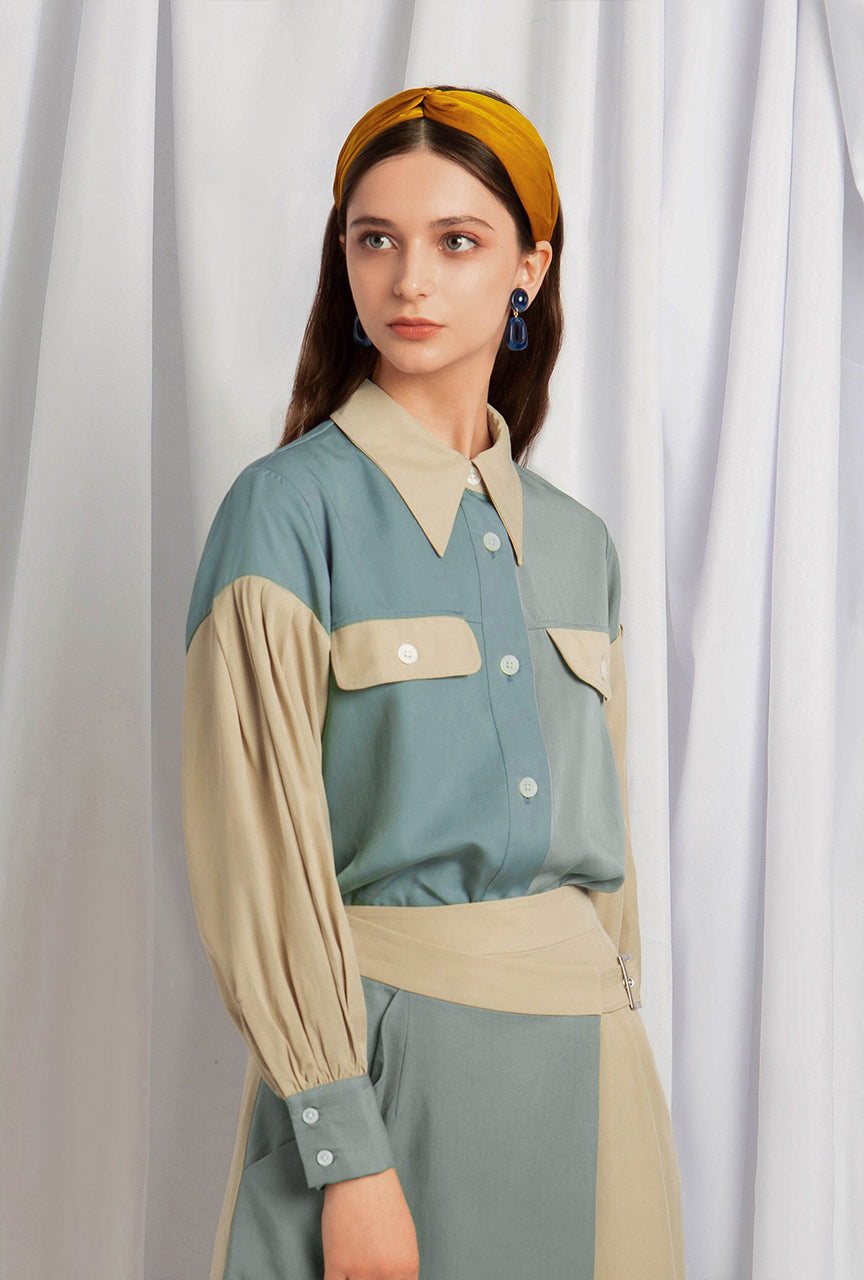 Carolina Tencel Blouse - Color block - Button down blouse - Petite Studio NYC