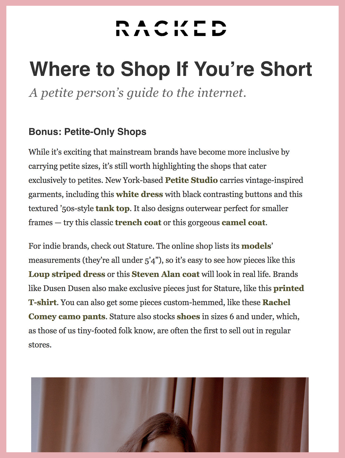 where you shop if you are short