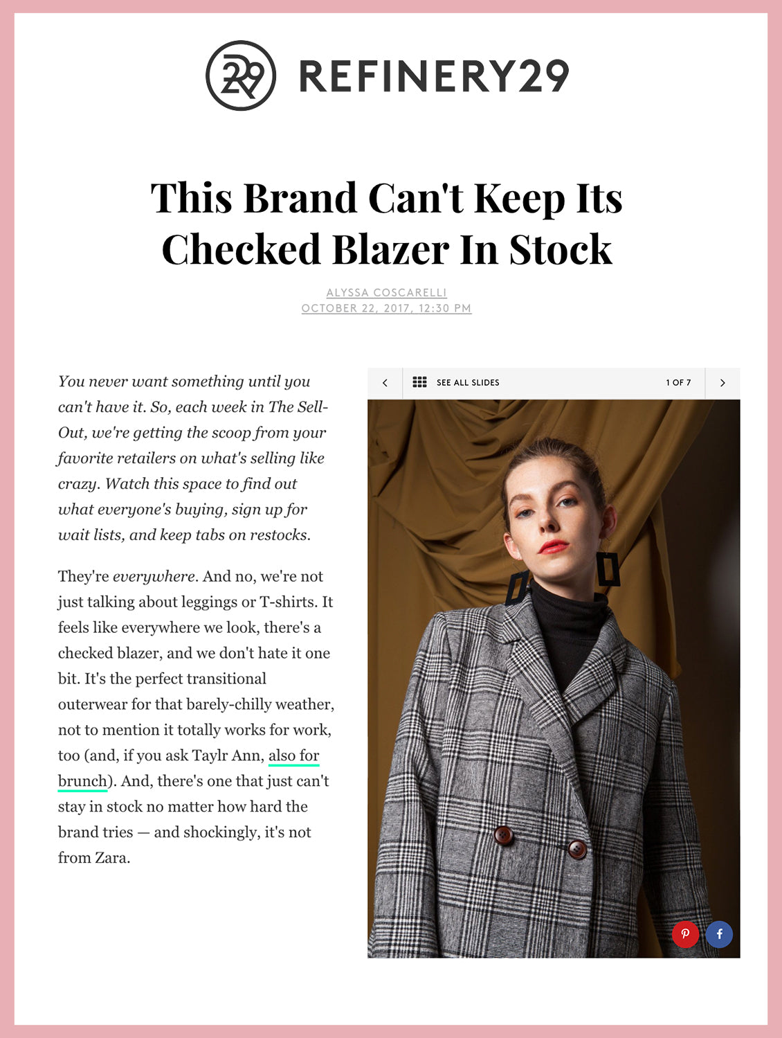 This Brand Cant's Keep Its Checked Blazer in Stock