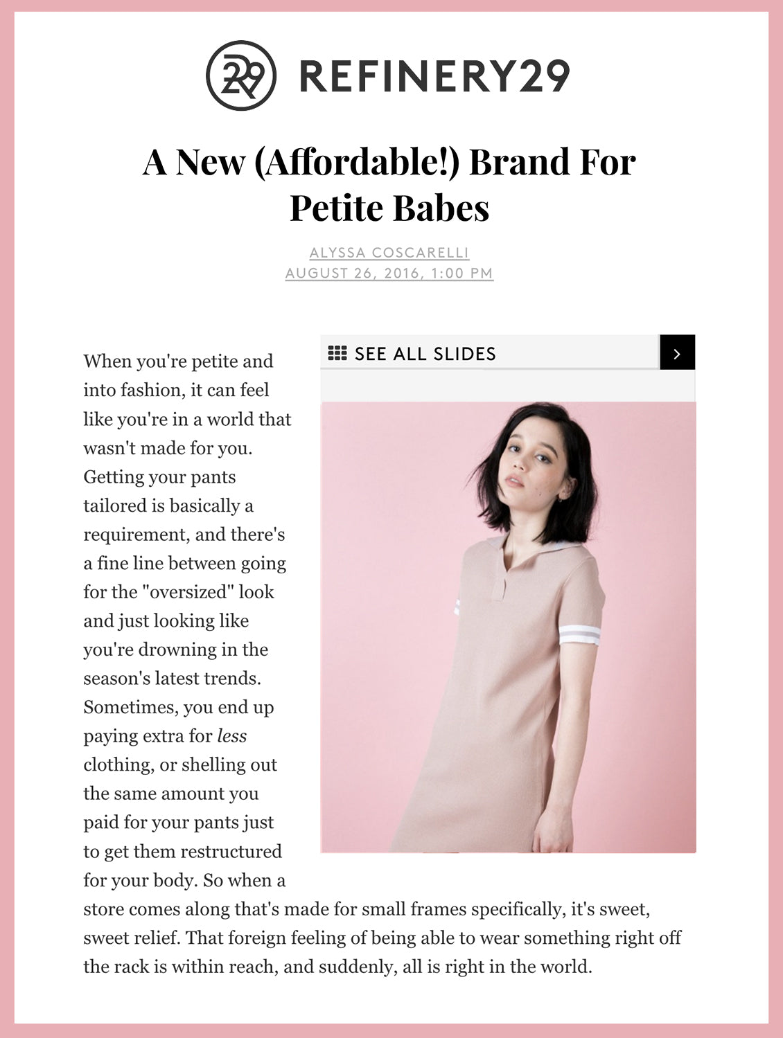 A New (Affordable!)  Brand For Petite Babes