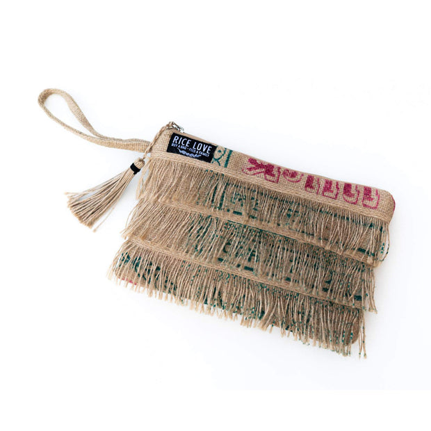 Recycled Fringe Clutch