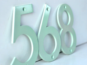 Mint Powder Coated Aluminum Numbers