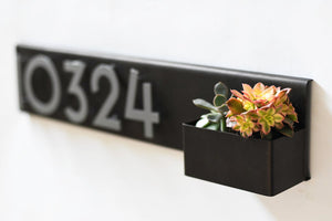 Planter Address Plate- Horizontal Style. Powder Coated Steel with Aluminum Numbers