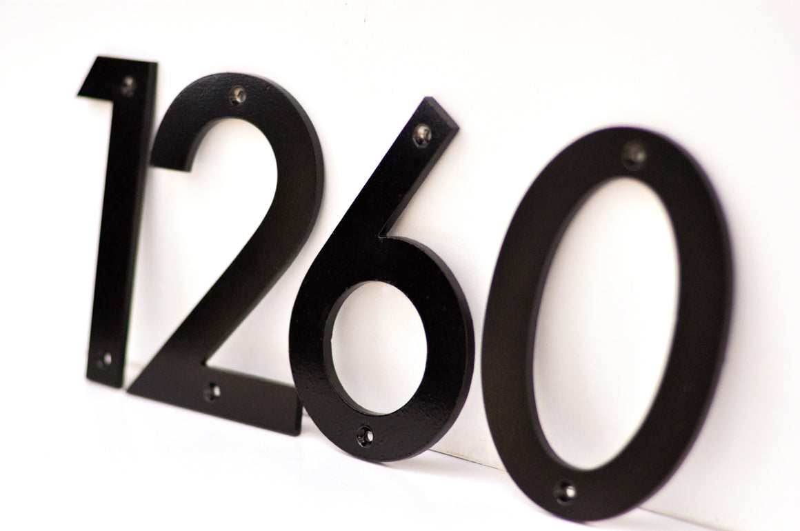 Black Powder Coated Aluminum Numbers