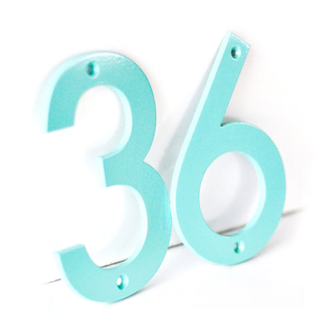 Sea Foam Powder Coated Aluminum Numbers with matching screws