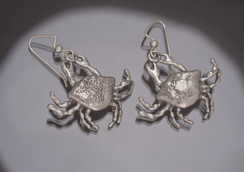 Crab Earrings, Sterling Silver