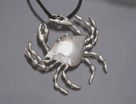 Crab, Sterling Silver, Pin or Pendant