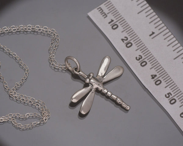 Dragonfly Pendant, with Chain, Sterling Silver