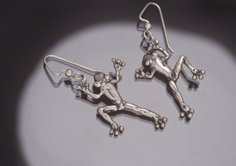 Jumping Frog Earrings, Sterling Silver