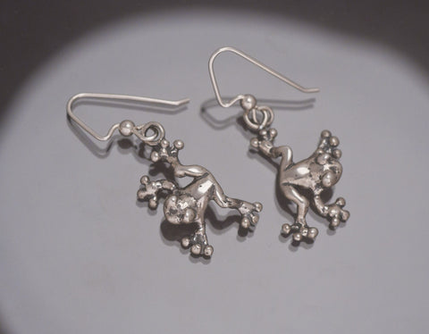 Tree Frog Earrings, Sterling Silver
