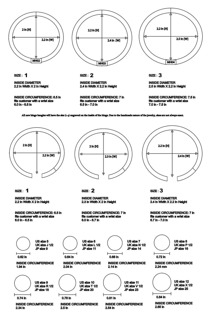 M.C.L Ring and Bangle size chart
