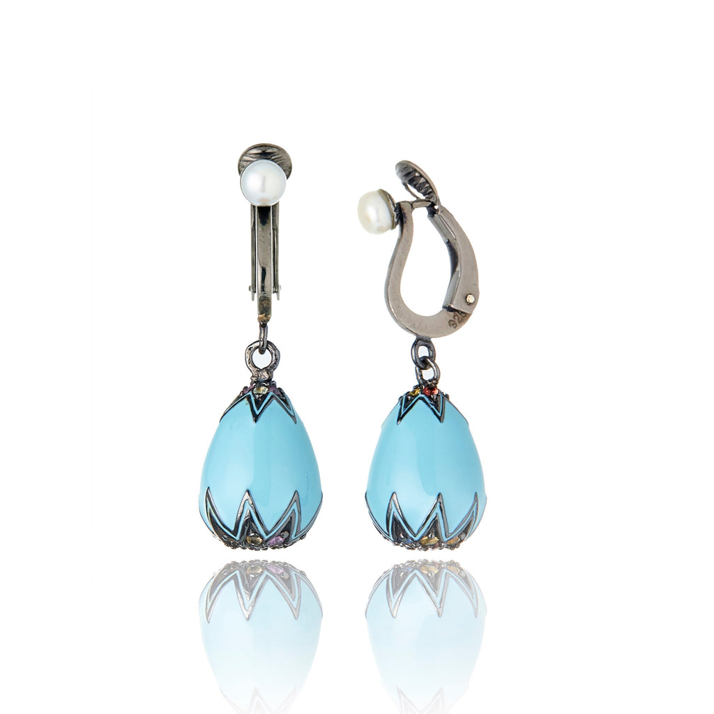 MCL Design Sterling Silver Earring Clips with Baby Blue Enamel, Mixed Sapphires & White Pearls