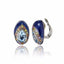 Sterling Silver Button Earring Clips With Royal Blue Glitter Enamel, Mixed Sapphires & Blue Topaz