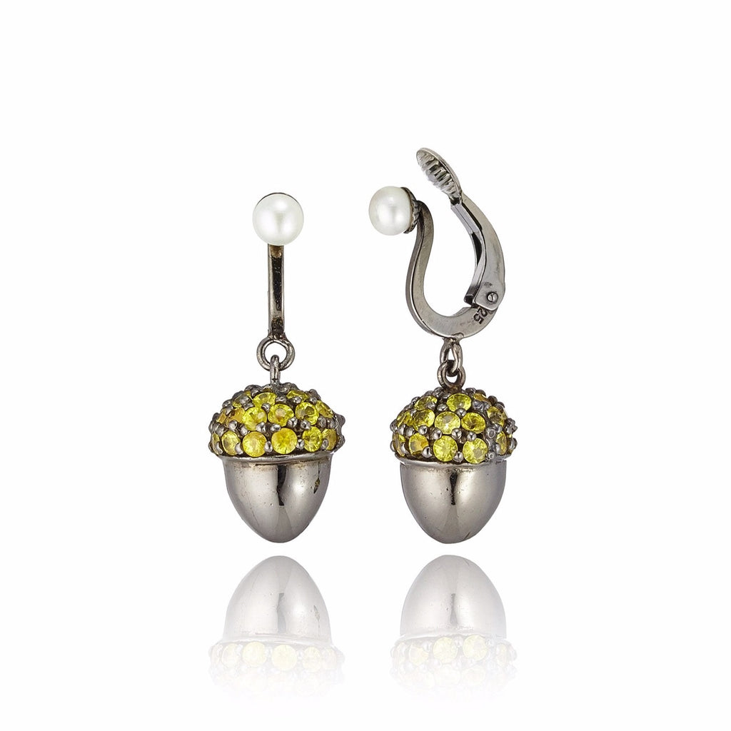 Sterling Silver Statement Earring Clips With White Enamel & Yellow Sapphire