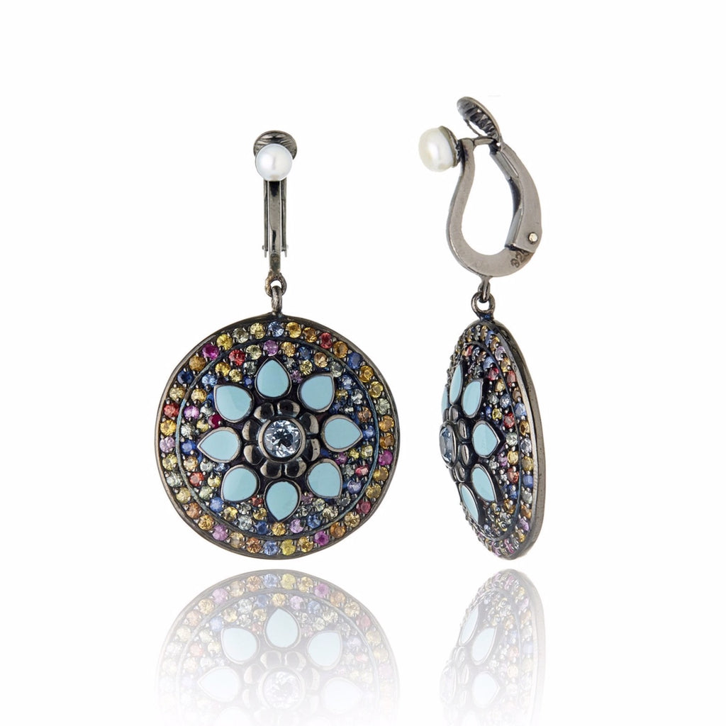 Sterling Silver Statement Earring Clips With Baby Blue Enamel, Mixed Sapphires, Blue Topaz & White Pearl