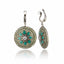 Sterling Silver Statement Earring Clips With Midnight Green Enamel, Green Sapphire, Green Amethyst & White Pearl